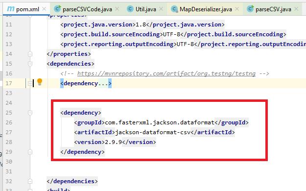 Maven jackson-dataformat-csv Dependency