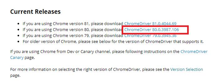 Chrome driver version