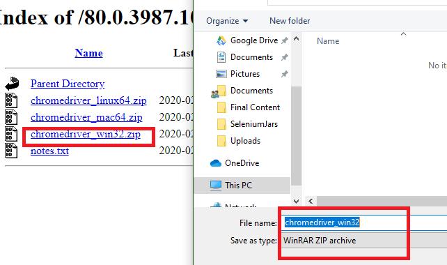 Chrome driver zip file