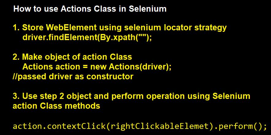 Action Class in selenium