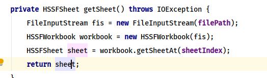 Excel sheet Java Code