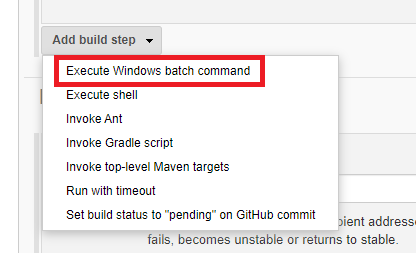 Jenkins Execute Batch cmmand