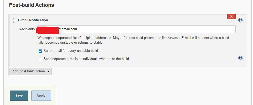 Jenkins email input