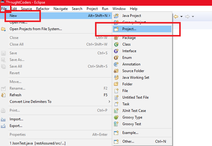 Create Project in Eclipse IDE
