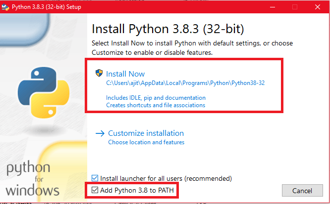 Add Python 3.8 to Path