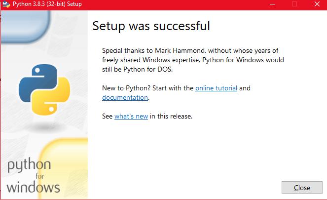 Python Setup successful