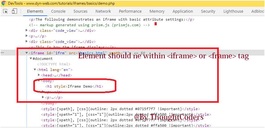 Sample image of DOM which have iframe.