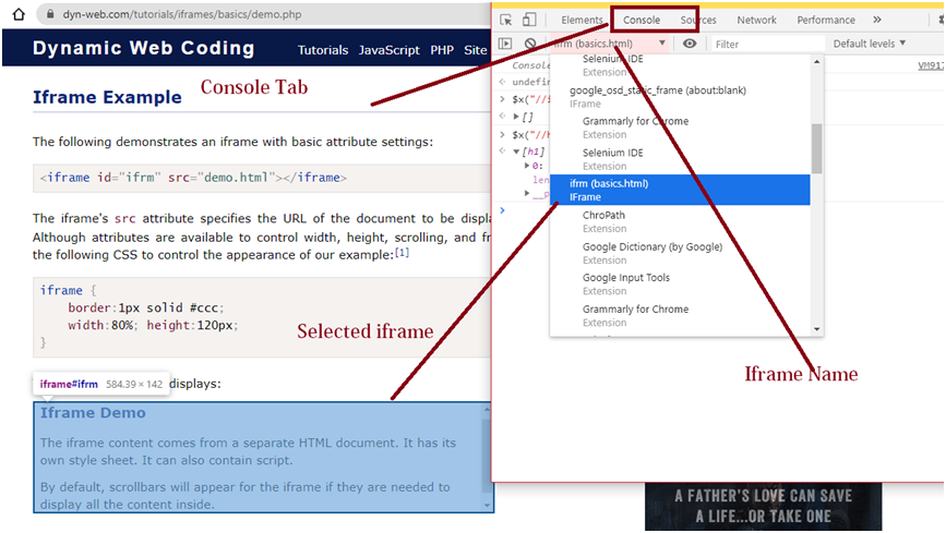 ChromeDevTools Console Tab dropdown to choose correct iframe