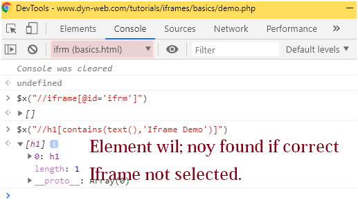 Devtools console view to verify iframes