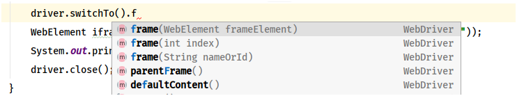 Methods available for switch into iframes