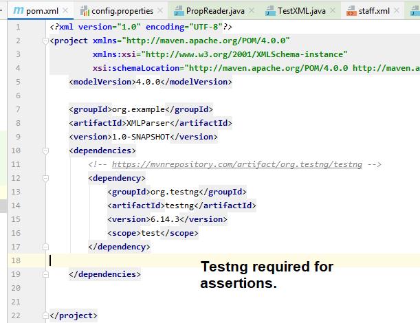 TestNG dependency in pom.xml