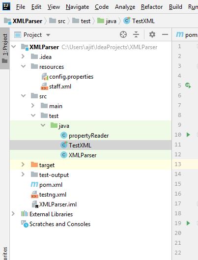 XML Parser testing framework folder structure