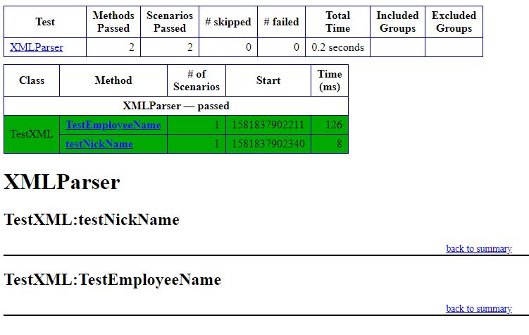 XML Parser TestNg report