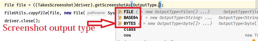 Screenshots output type