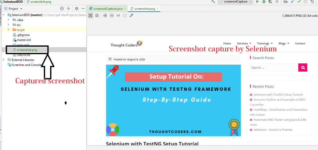 Captured screenshot using selenium