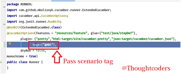 this is the snapshot of Runner class. Runner class is used to run BDD automation framework.